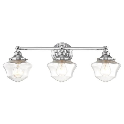 Clear Glass Schoolhouse Bathroom Light Chrome 3 Light 23.125 Inch Length