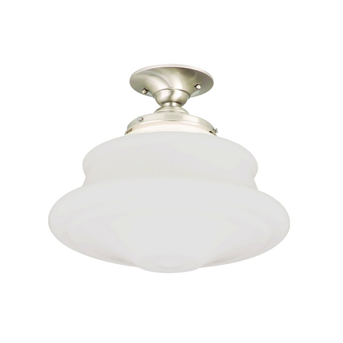 Hudson Valley Lighting Schoolhouse Semi-Flushmount Light with White Glass in Satin Nickel Finish 3416F-SN