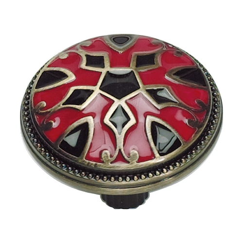 Atlas Homewares Cabinet Knob in Red and Black Finish 3186-R-B