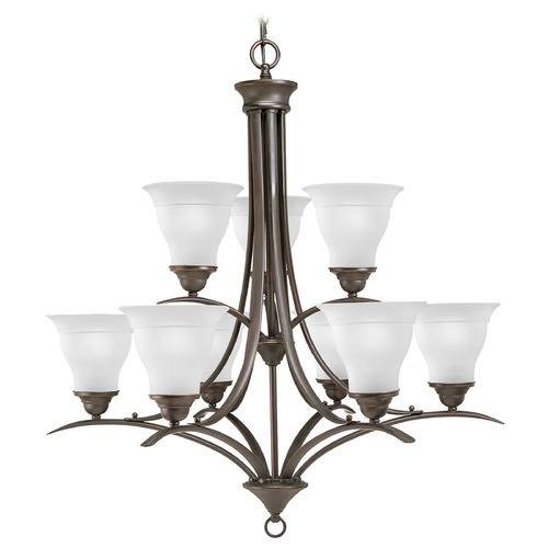 Progress Lighting Progress Chandelier with White Glass in Antique Bronze Finish P4329-20