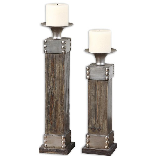 Uttermost Lighting Uttermost Lican Natural Wood Candleholders, Set of 2 19668