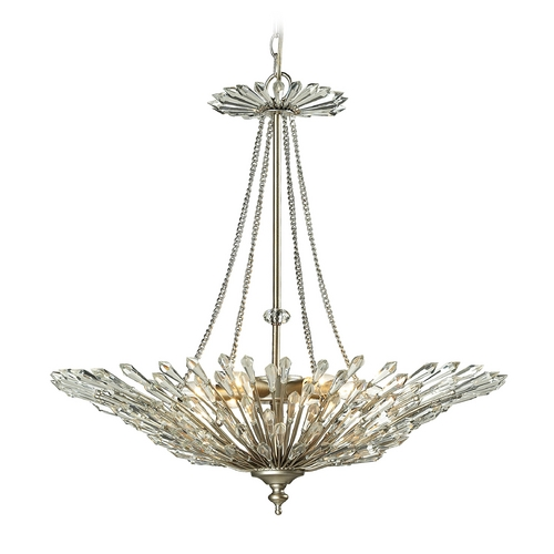 Elk Lighting Crystal Pendant Light in Aged Silver Finish 31432/6