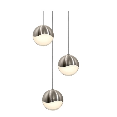 Sonneman Lighting Sonneman Grapes Satin Nickel 3 Light LED Multi-Light Pendant 2914.13-LRG