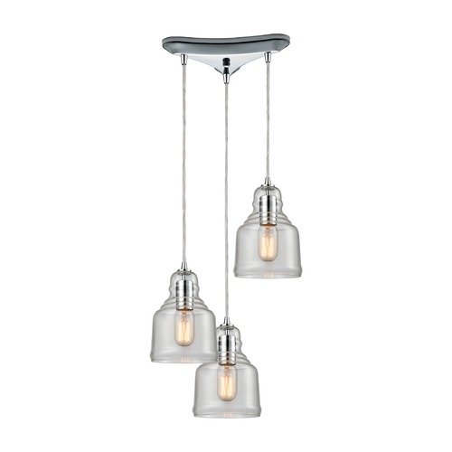 Elk Lighting Elk Lighting Menlow Park Polished Chrome Multi-Light Pendant with Bowl / Dome Shade 60072/3