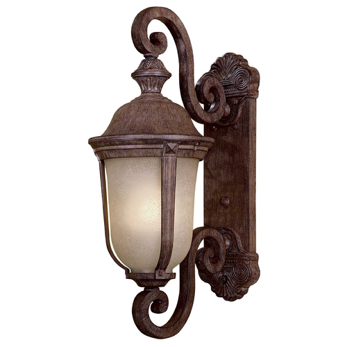 Minka Lavery Outdoor Wall Light with Beige / Cream Glass in Vintage Rust Finish 8991-61-PL