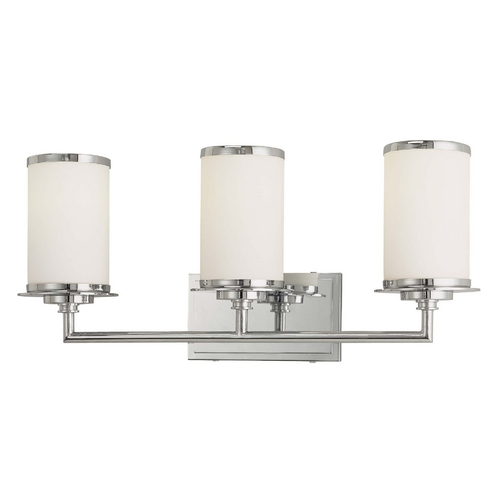 Minka Lavery Modern Bathroom Light with White Glass in Chrome Finish 3723-77-PL