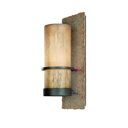 Troy Lighting Outdoor Wall Light with Beige / Cream Glass in Bamboo Bronze Finish BF1851BB