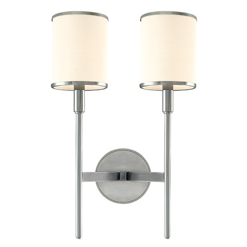 Hudson Valley Lighting Sconce Wall Light with White Shades in Polished Nickel Finish 622-PN