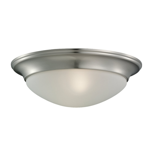 Sea Gull Lighting Flushmount Light with White Glass in Brushed Nickel Finish 75435-962