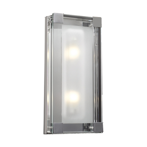 PLC Lighting Modern Sconce Wall Light with Clear Glass in Polished Chrome Finish 18148 PC