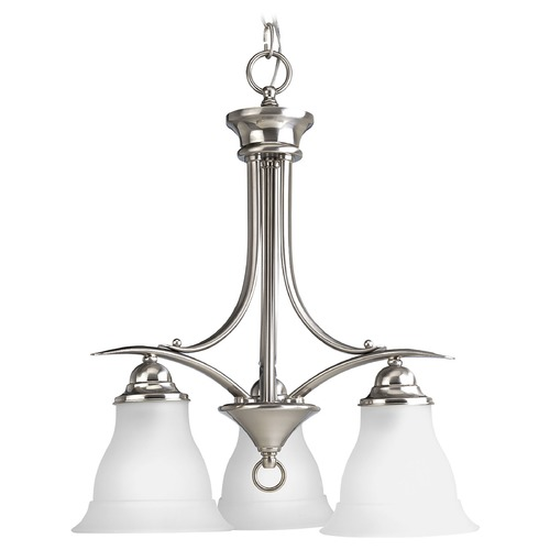 Progress Lighting Progress Chandelier with White Glass in Brushed Nickel Finish P4324-09