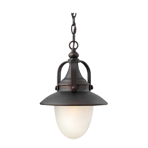 Hinkley Lighting Outdoor Hanging Light with White Glass in Spanish Bronze Finish 2082SB