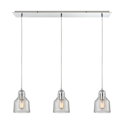 Elk Lighting Elk Lighting Menlow Park Polished Chrome Multi-Light Pendant with Bowl / Dome Shade 60072/3LP