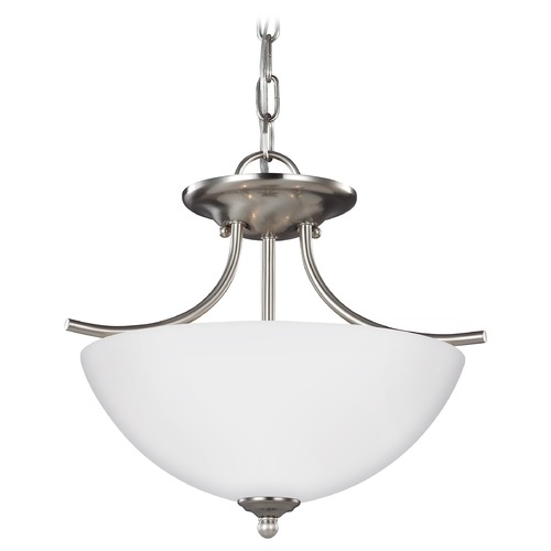 Sea Gull Lighting Sea Gull Lighting Bannock Brushed Nickel LED Pendant Light with Bowl / Dome Shade 7716602EN3-962