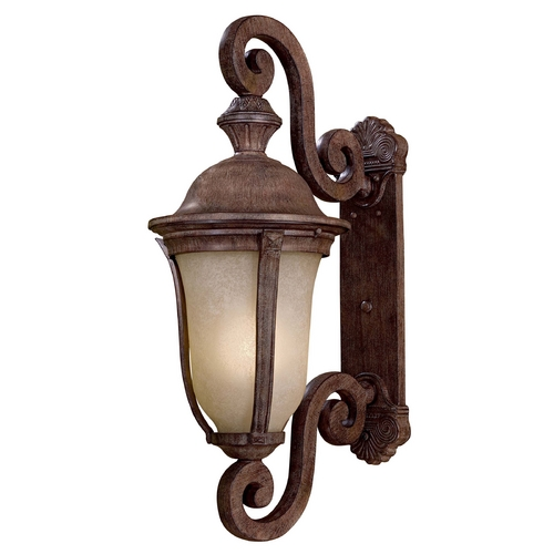 Minka Lavery Outdoor Wall Light with Beige / Cream Glass in Vintage Rust Finish 8992-61-PL