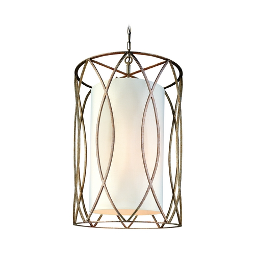 Troy Lighting Pendant Light with White Shades in Silver Gold Finish F1288SG