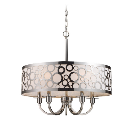 Elk Lighting Modern Drum Pendant Light with White Glass in Polished Nickel Finish 31026/5