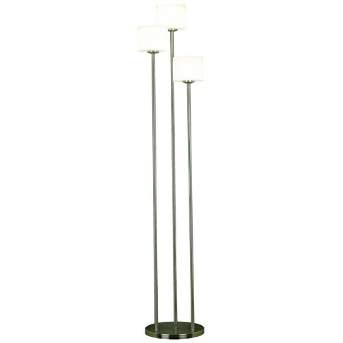 Kenroy Home Lighting Modern Torchiere Lamp with White Glass in Brushed Steel Finish 21377BS