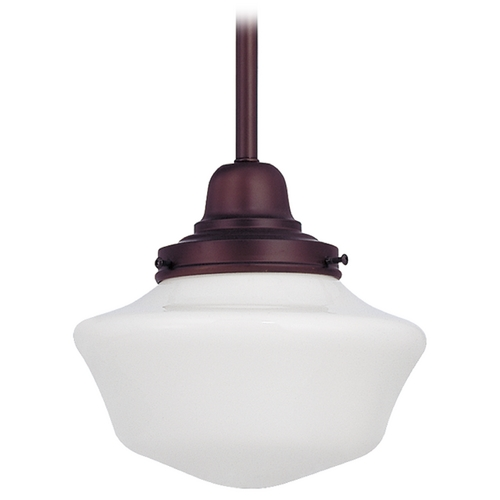 Design Classics Lighting 8-Inch Schoolhouse Mini-Pendant Light in Bronze Finish FB4-220 / GA8