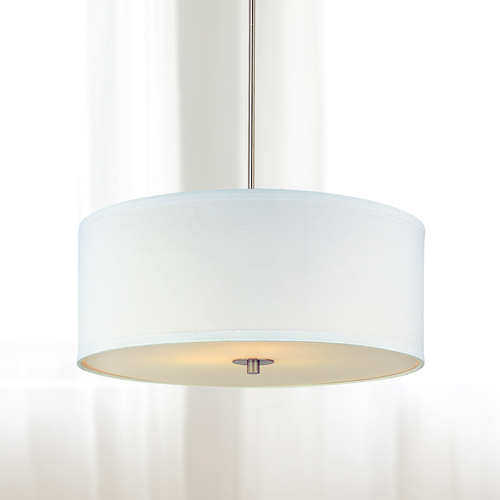 Design Classics Lighting Modern Drum Pendant Light with White Shade in Satin Nickel Finish DCL 6528-09 SH7566 KIT