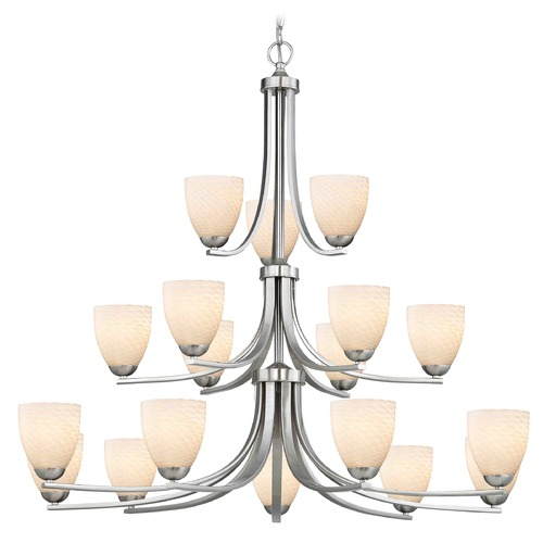 Design Classics Lighting Satin Nickel Chandelier 5863-09 GL1020MB