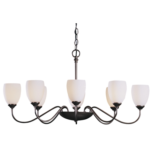 Hubbardton Forge Lighting Chandelier with White Glass in Dark Smoke Finish 101304-07-G83
