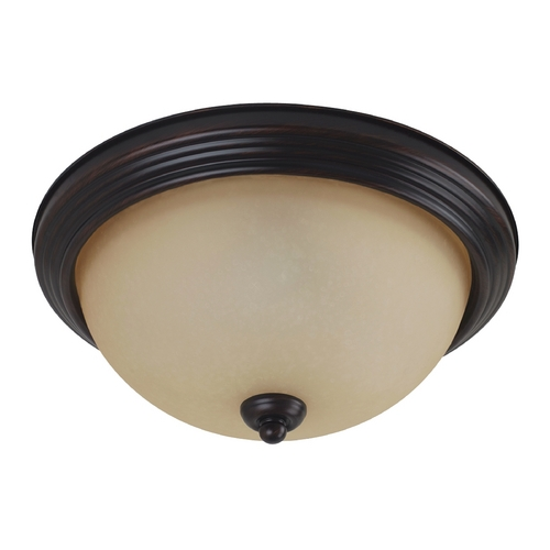 Sea Gull Lighting Flushmount Light with Amber Glass in Burnt Sienna Finish 79565BLE-710