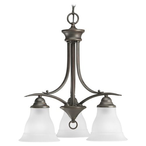 Progress Lighting Progress Chandelier with White Glass in Antique Bronze Finish P4324-20