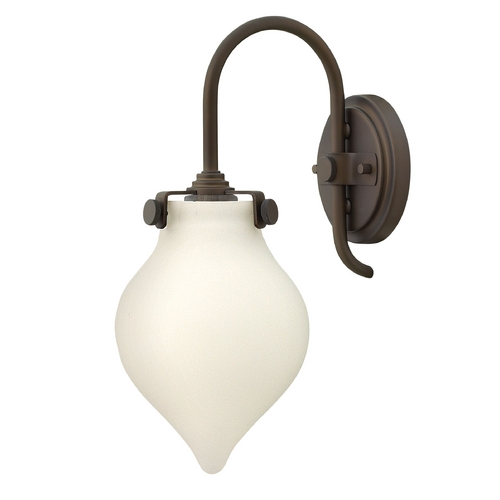 Hinkley Lighting Sconce Wall Light with White Glass in Oil Rubbed Bronze Finish 3172OZ