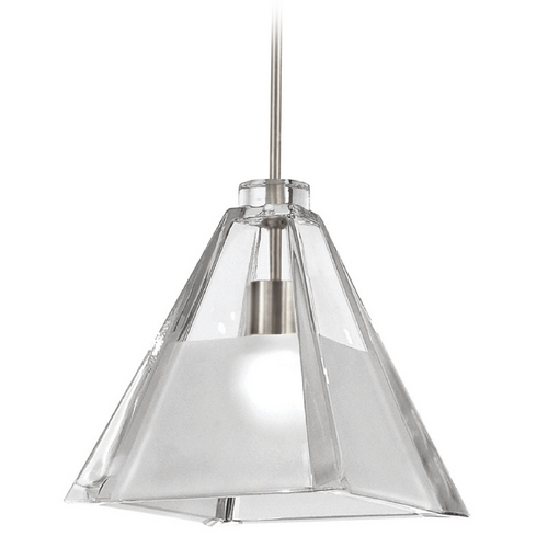 WAC Lighting Wac Lighting European Collection Brushed Nickel Mini-Pendant with Square Shade MP-915-CF/BN