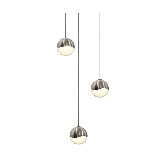 Sonneman Lighting Sonneman Grapes Satin Nickel 3 Light LED Multi-Light Pendant   2914.13-SML