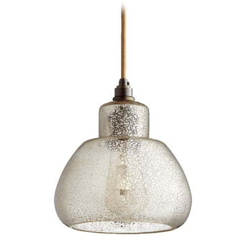 Quorum Lighting Quorum Lighting Oiled Bronze Mini-Pendant Light with Drum Shade 8000-4786