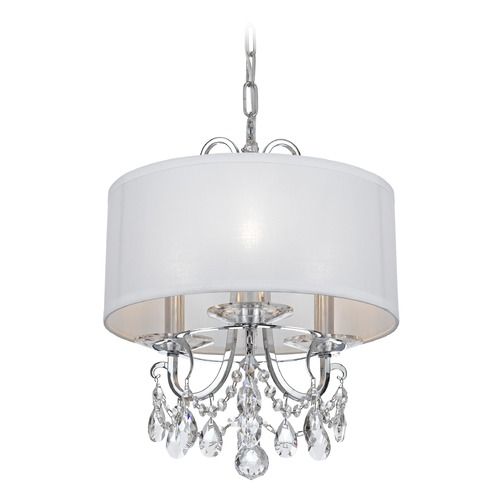 Crystorama Lighting Crystorama Lighting Othello Polished Chrome Pendant Light with Drum Shade 6623-CH-CL-MWP