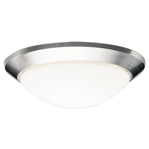 Kichler Lighting Kichler Modern Brushed Nickel Flushmount Light with White Glass 8881NI