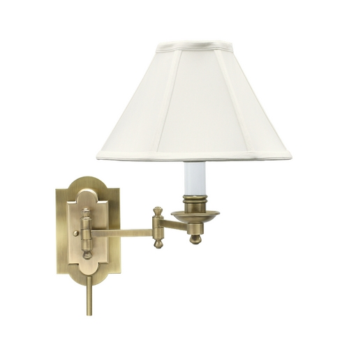 House of Troy Lighting Swing Arm Lamp with White Shade in Antique Brass Finish CL225-AB