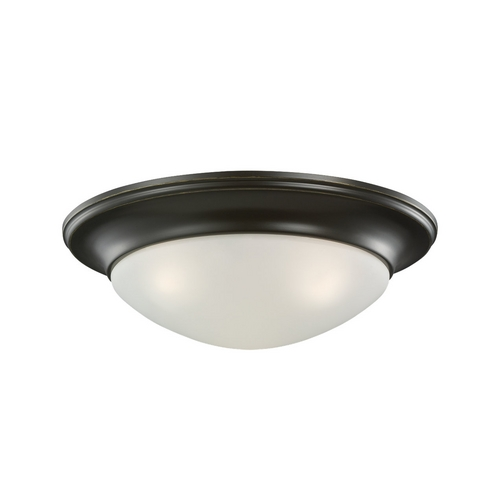 Sea Gull Lighting Flushmount Light with White Glass in Heirloom Bronze Finish 75436-782