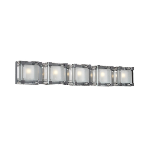 PLC Lighting Modern Bathroom Light with Clear Glass in Polished Chrome Finish 18145 PC