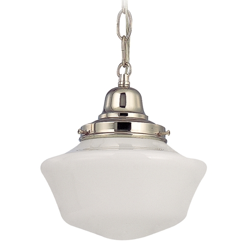 Design Classics Lighting 8-Inch Schoolhouse Mini-Pendant Light in Polished Nickel with Chain FB4-15 / GA8 / B-15