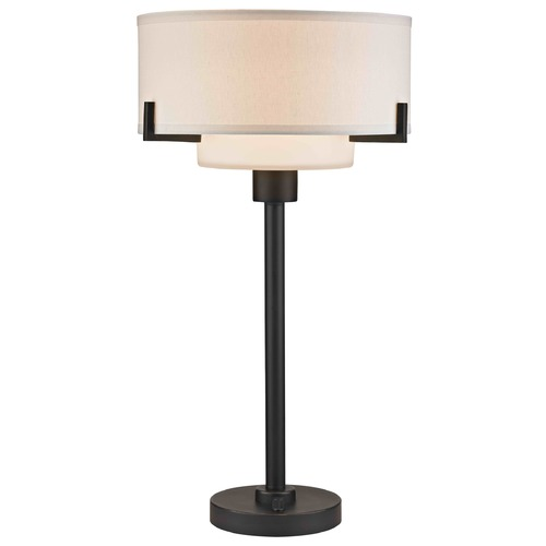 Design Classics Lighting Bronze Table Lamp with White Drum Shade 7010-78