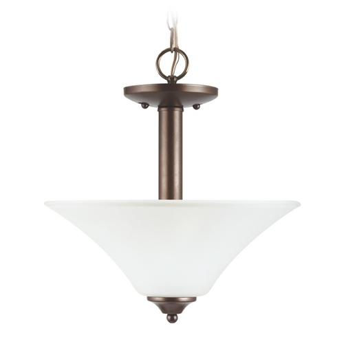Sea Gull Lighting Pendant Light with White Glass in Bell Metal Bronze Finish 79806BLE-827