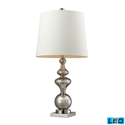Dimond Lighting Dimond Lighting Antique Mercury Glass, Polished Nickel LED Table Lamp with Empire Shade D2255-LED