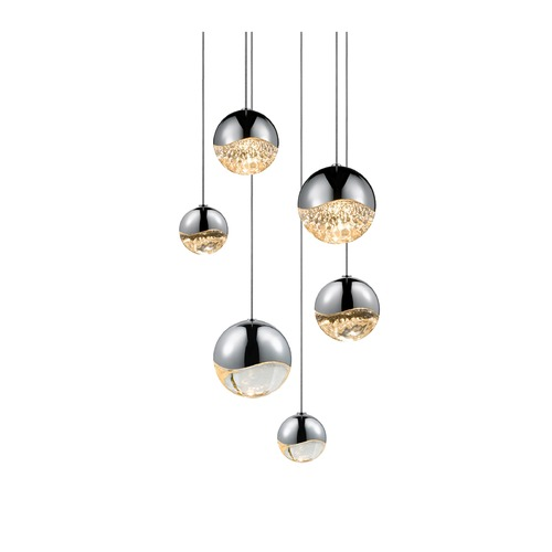 Sonneman Lighting Sonneman Grapes Polished Chrome 6 Light LED Multi-Light Pendant 2915.01-AST