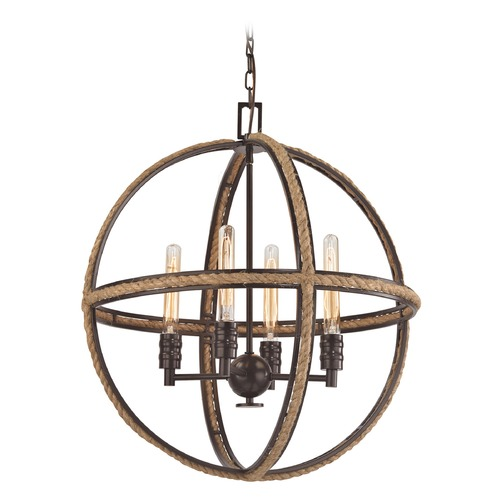 Elk Lighting Elk Lighting Natural Rope Oil Rubbed Bronze Pendant Light 63065-4