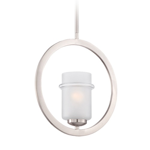 Designers Fountain Lighting Designers Fountain Omega Satin Platinum Mini-Pendant Light with Cylindrical Shade 86630-SP