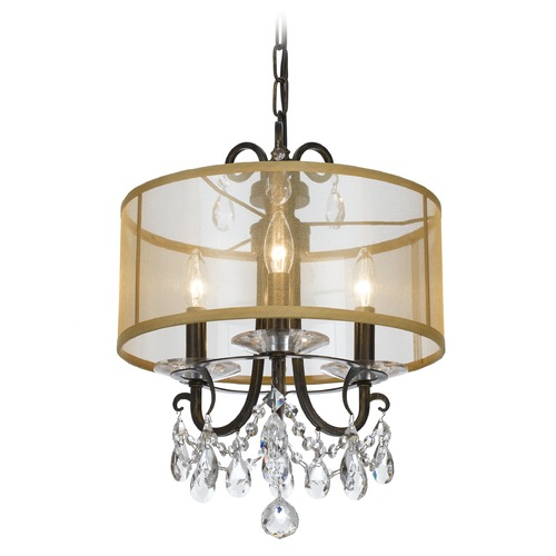 Crystorama Lighting Crystorama Lighting Othello English Bronze Pendant Light with Drum Shade 6623-EB-CL-MWP