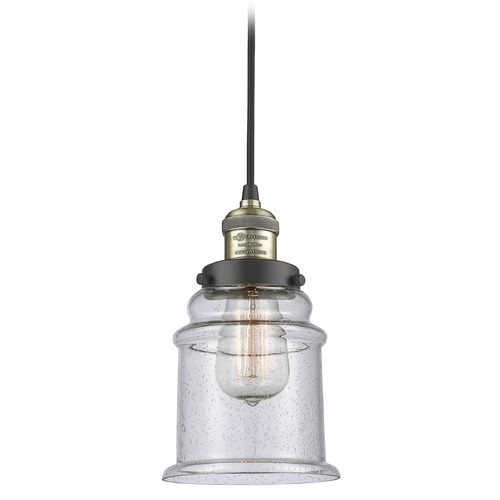 Innovations Lighting Innovations Lighting Canton Black Antique Brass Mini-Pendant Light with Bell Shade 201C-BAB-G184