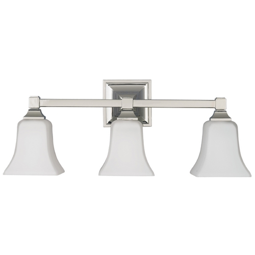 Feiss Lighting Modern Bathroom Light with Beige / Cream Glass in Polished Nickel Finish VS12403-PN
