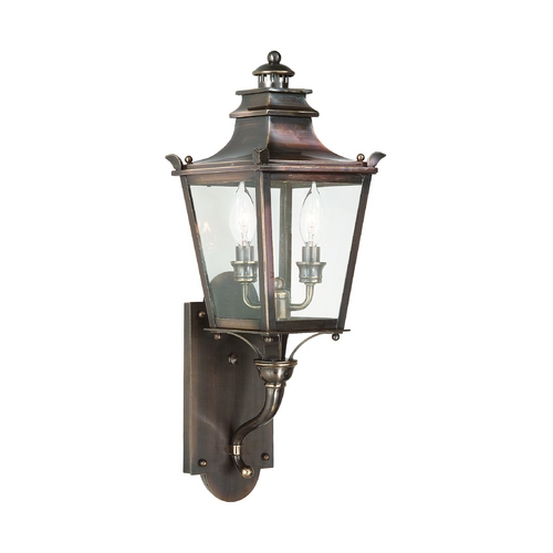 Troy Lighting Outdoor Wall Light with Clear Glass in English Bronze Finish B9491EB