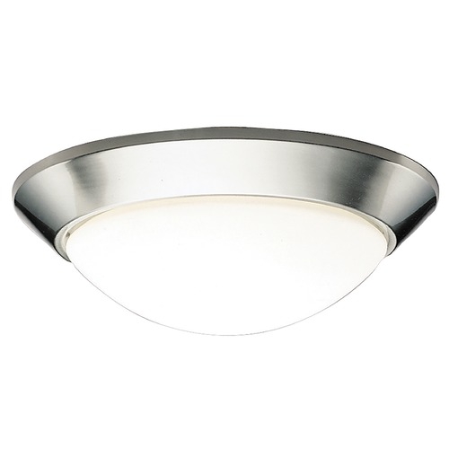 Kichler Lighting Kichler Modern Brushed Nickel Flushmount Light with White Glass 8882NI