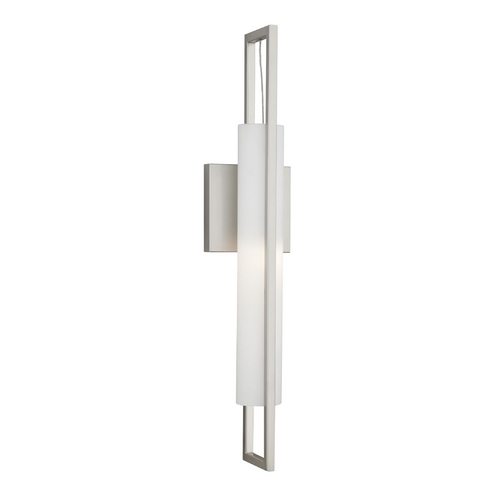 Philips Lighting Modern Sconce Wall Light with White Glass in Satin Nickel Finish F556236